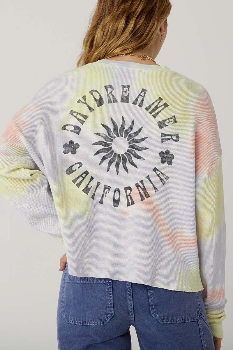 Daydreamer 100 Cotton Sun Crop Thermal In Blossom Tie Dye 80356