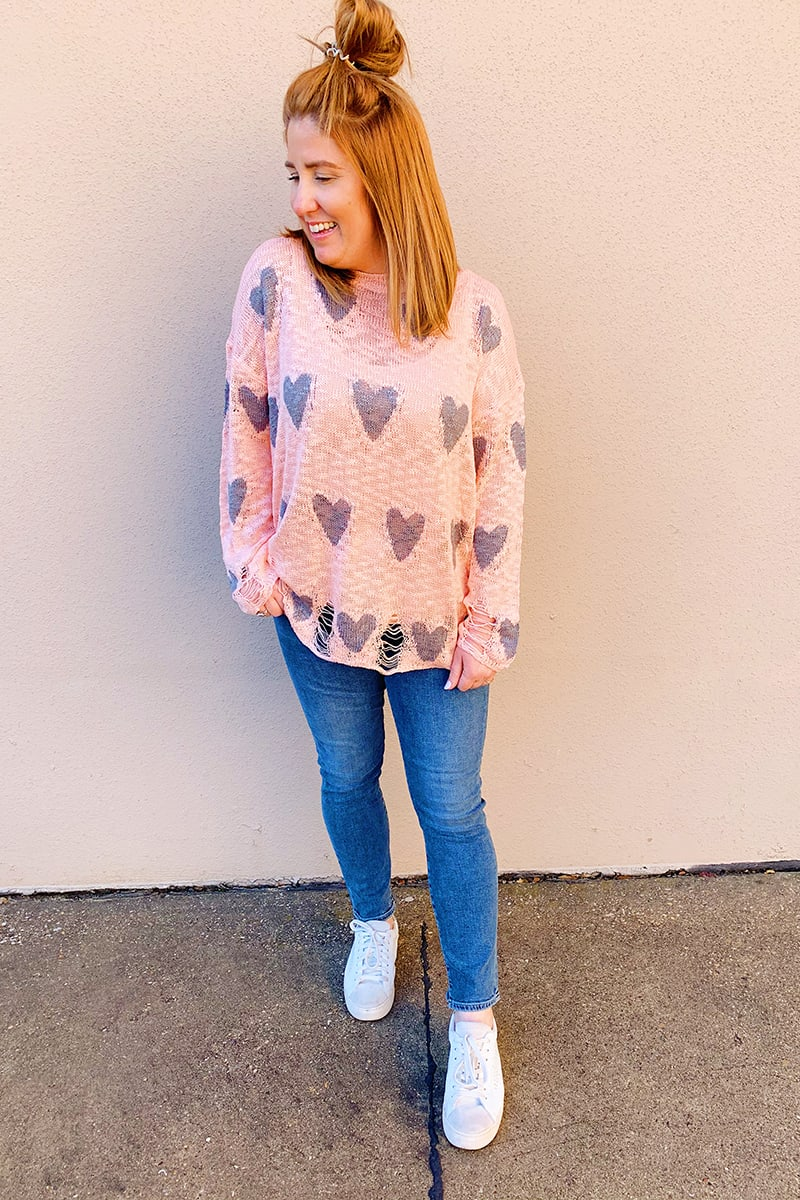 Distressed Heart Sweater In Pink And Gray 60368