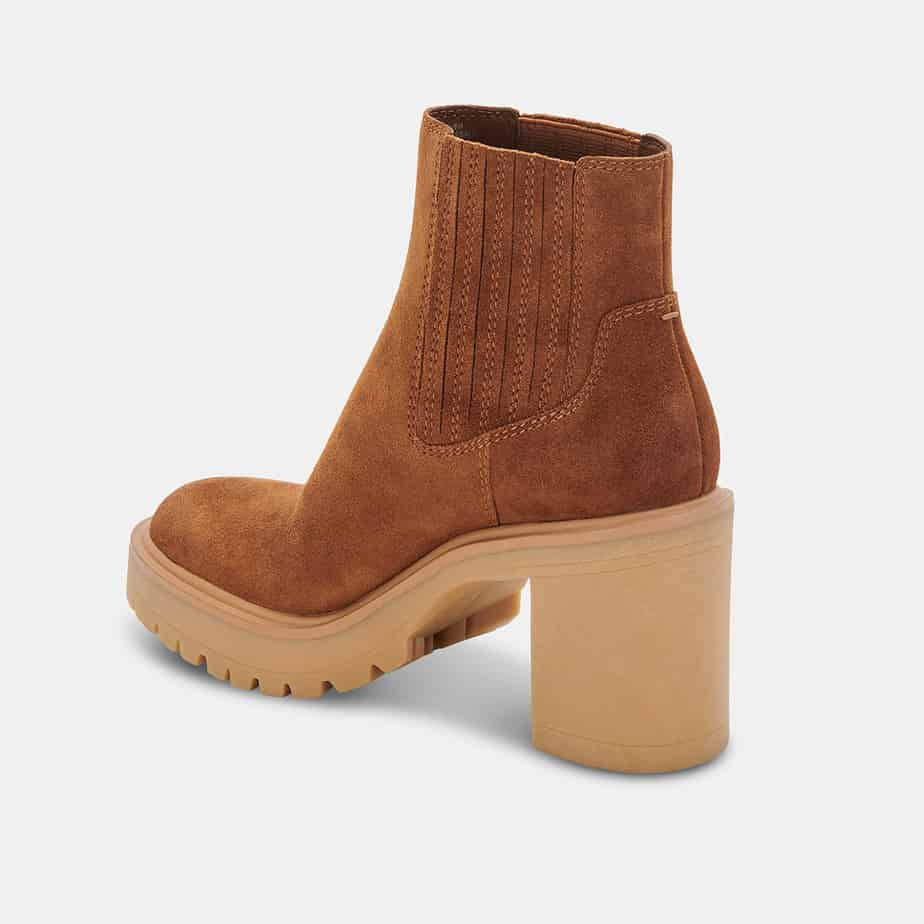 dolce vita caster booties in camel suede 93728