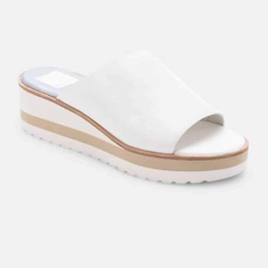 Dolce Vita Freta Wedge In White Leather 81036