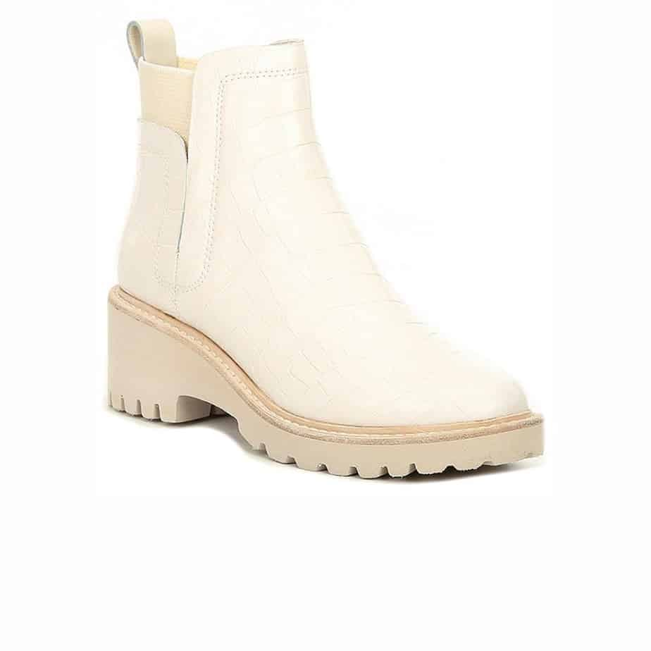 dolce vita huey booties in ivory croco leather 96025
