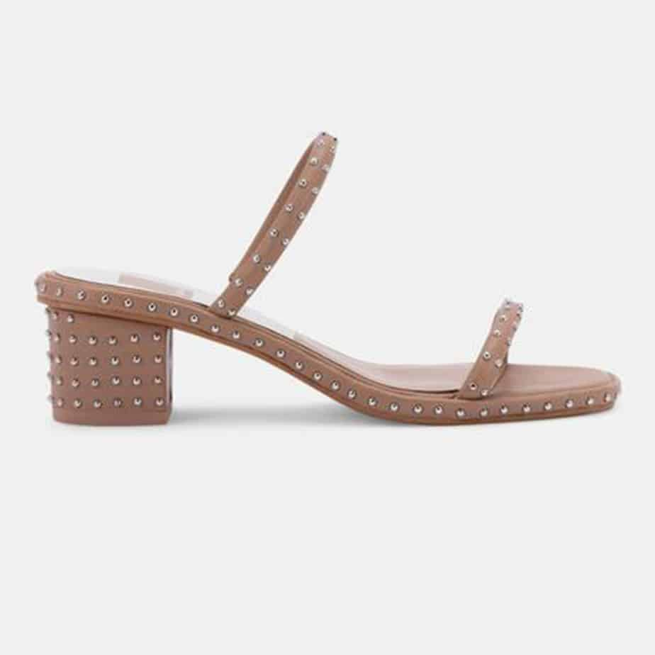 dolce vita riya studded leath sandal in cafe 82003