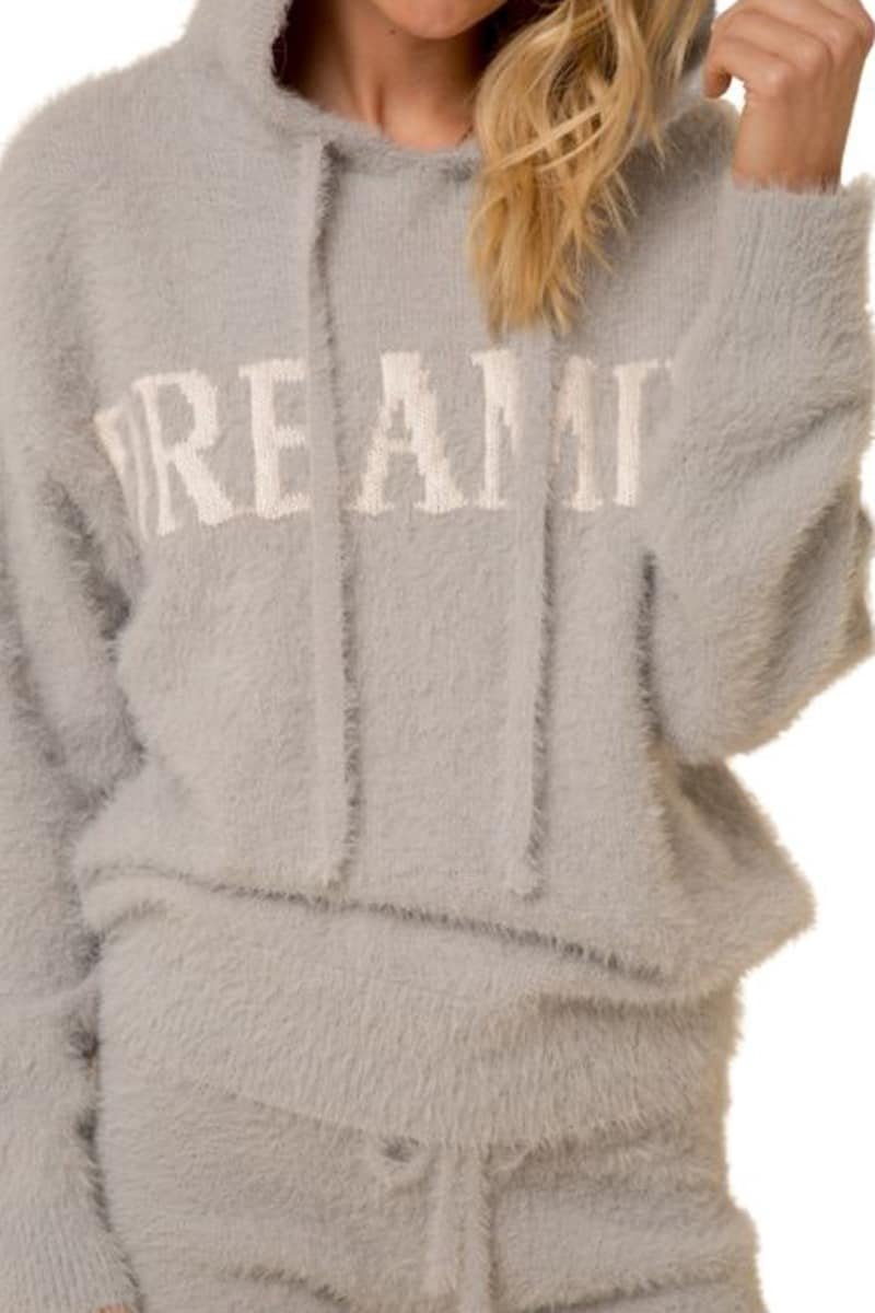 Dreamin Hoodie In Grey And White 80281