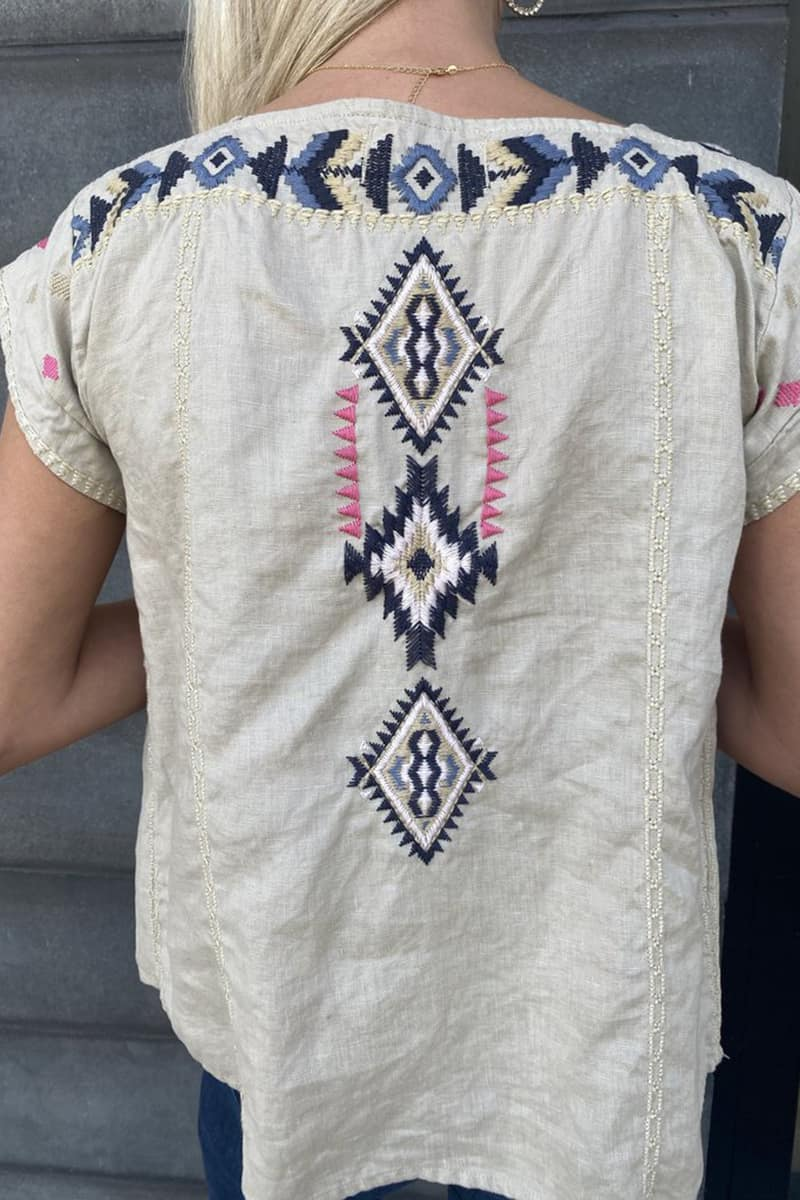 Driftwood Brooke Chamomile Embroidered Top 70022