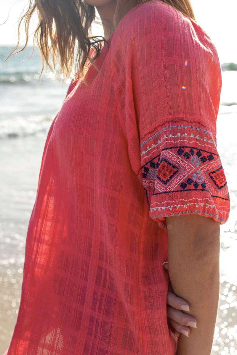 dylan 100 cotton embroidered tala blouse in fuchsia 85029