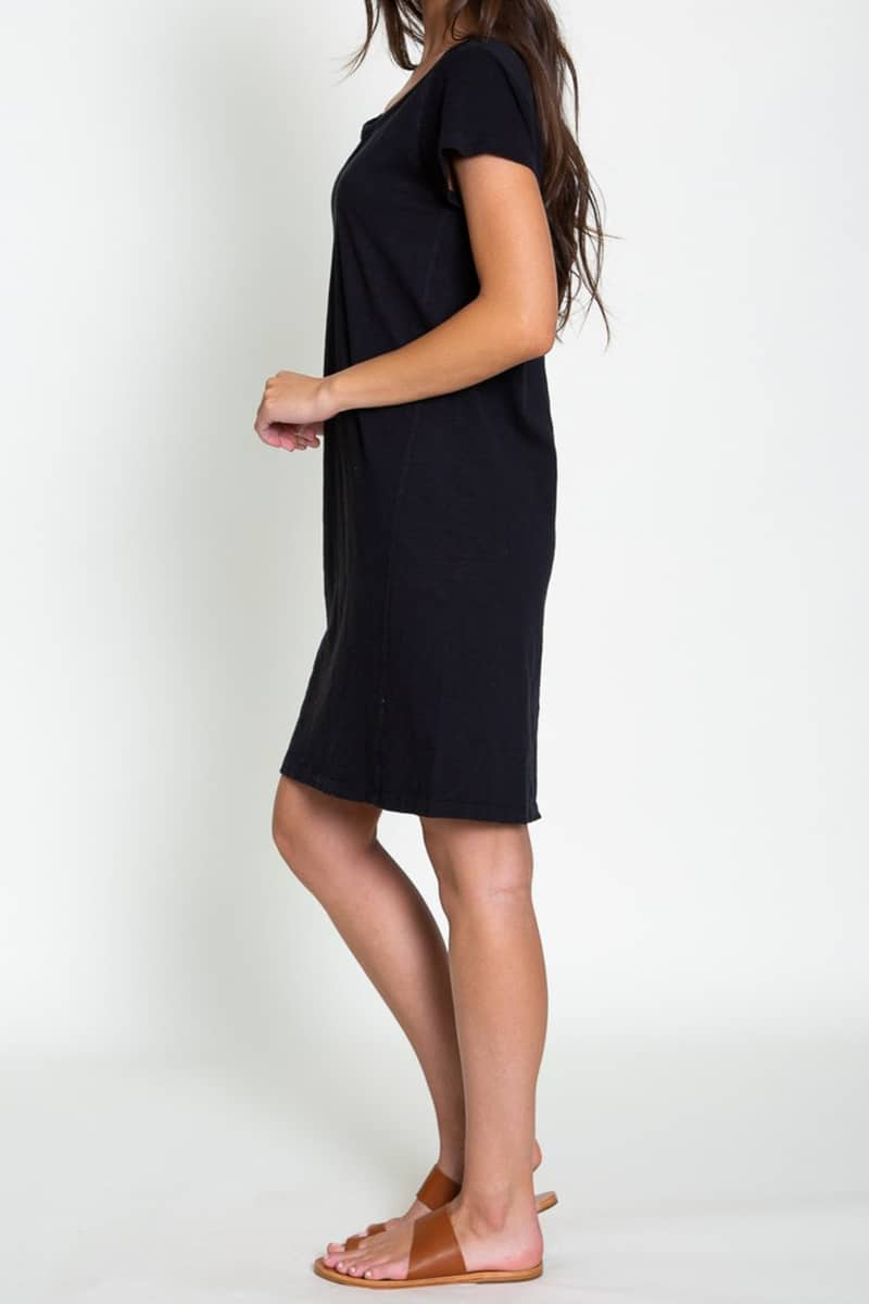 Dylan 100 Cotton Slub Scout Vneck Dress In Black 70983