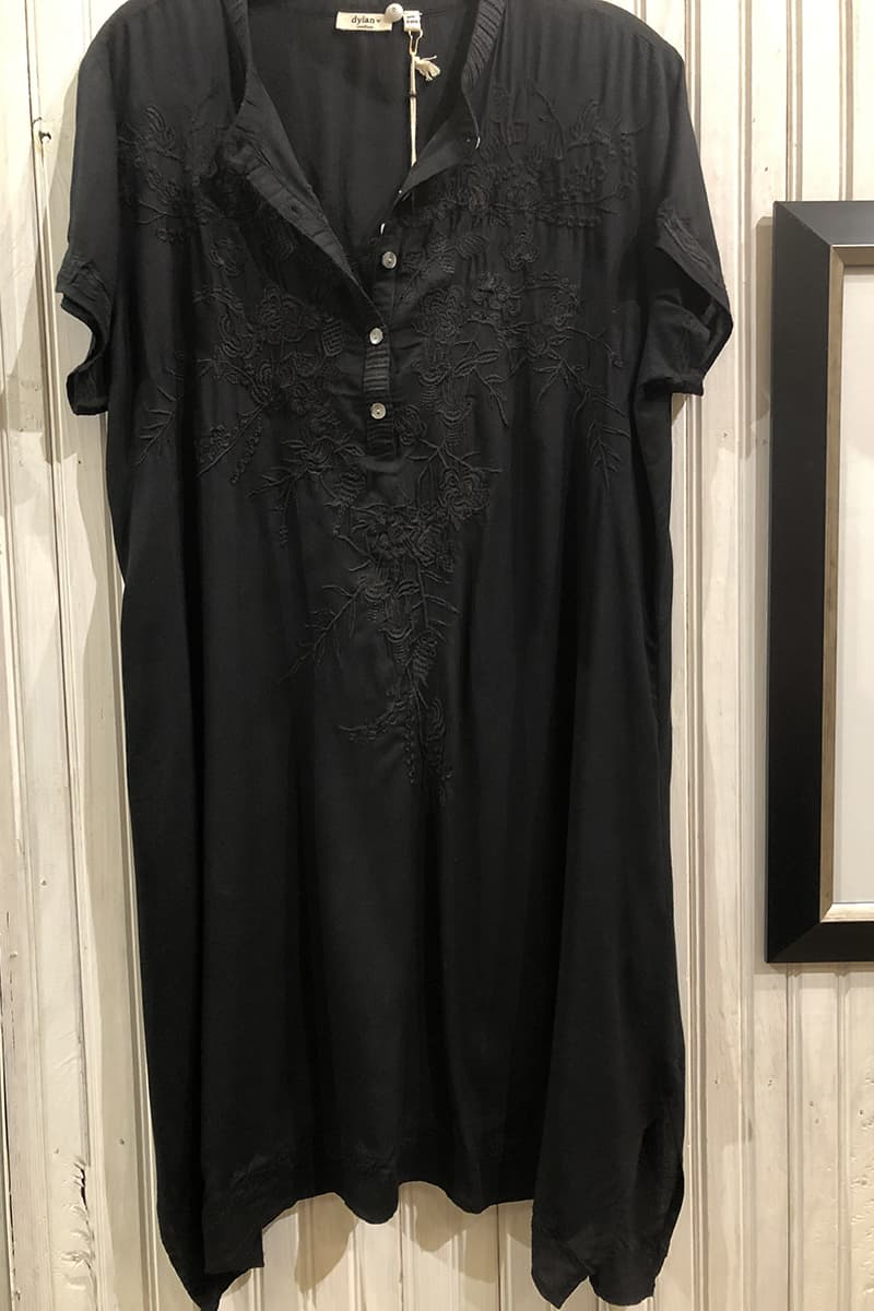 Dylan Embroidered Henley Dress In Black 74198