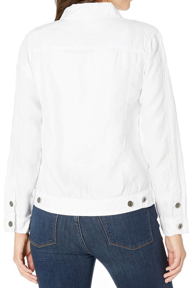 Dylan Linen Jean Jacket In White 67636