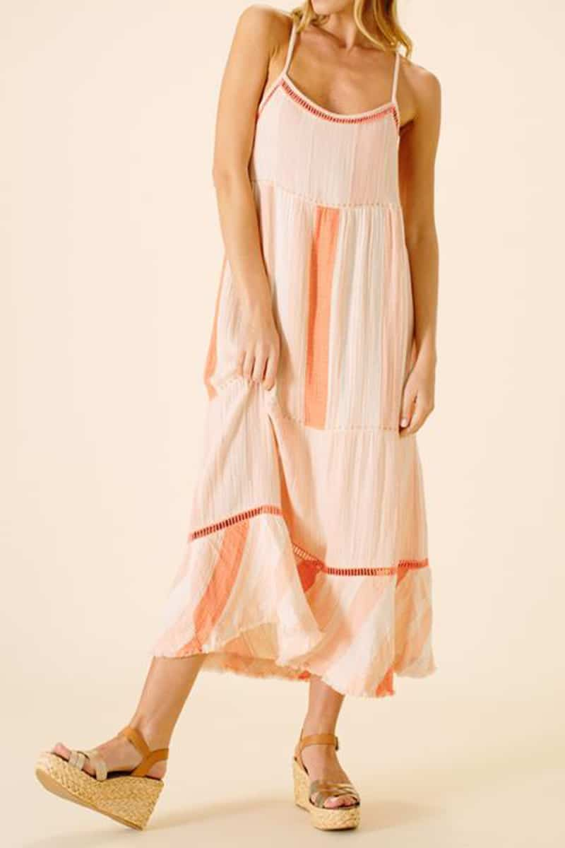 Ellor 100 Cotton Gabriella Strap Midi Dress In Peach Stripe 66786
