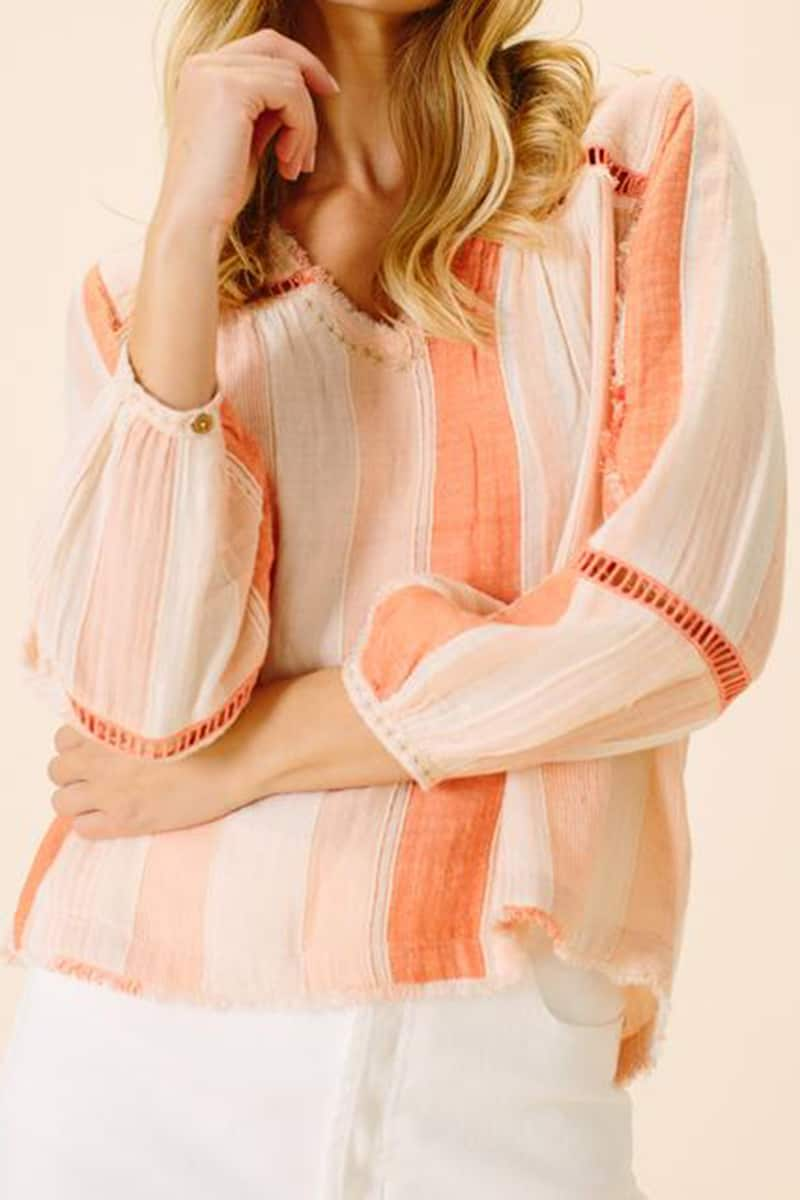 Ellor Aaliyah 100 Cotton V Neck Blouse In Peach Stripe 66787