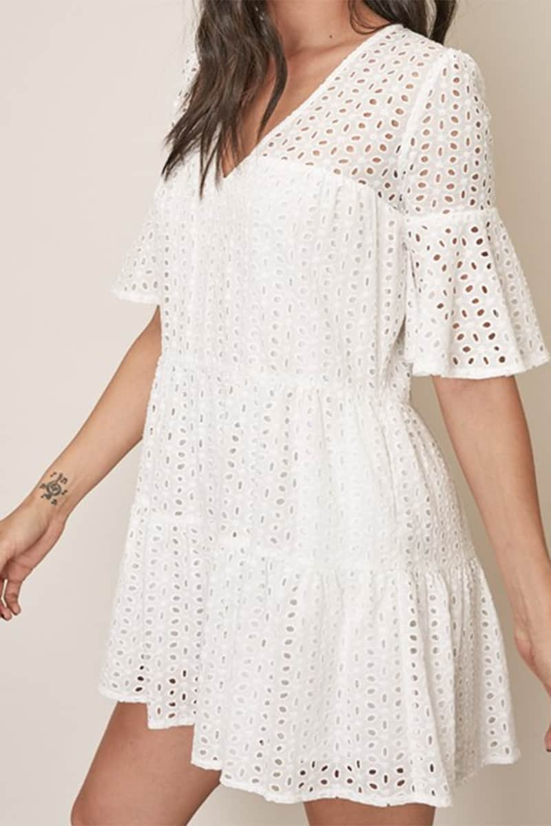 Eyelet Tiered Dress In White 68406
