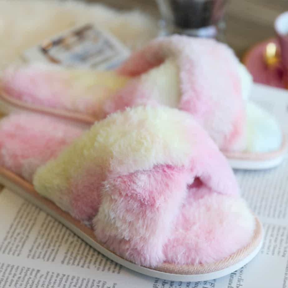 Faux Fur Slippers In Pinkyellow Combo 75941