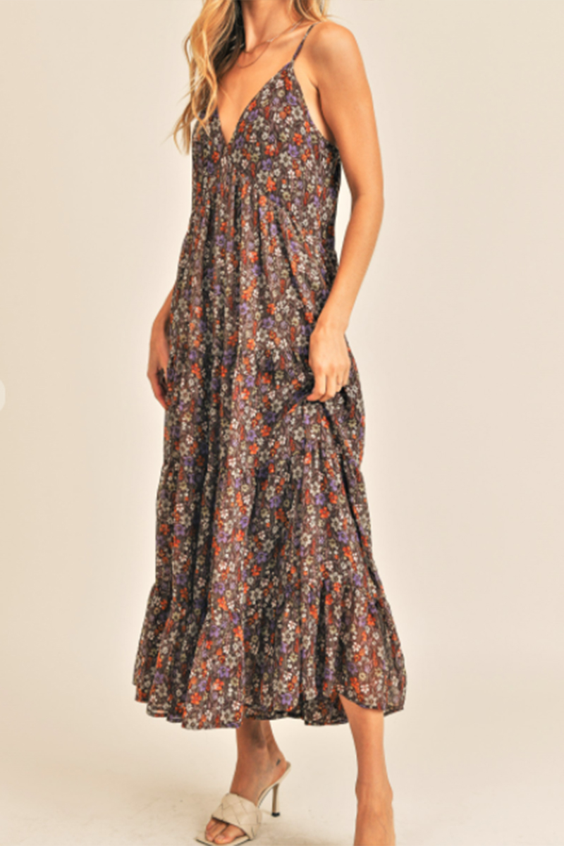 floral maxi dress with straps in brown combo 96193