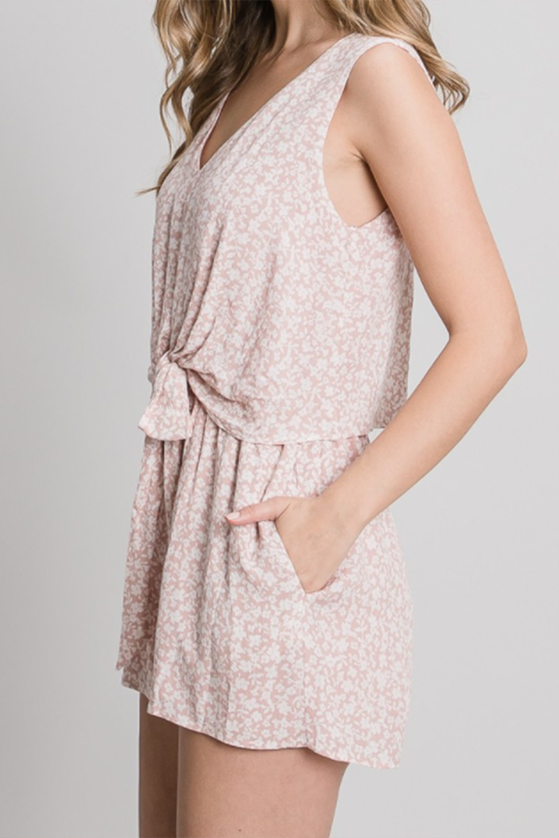 floral sleeveless romper in dusty pink 88176