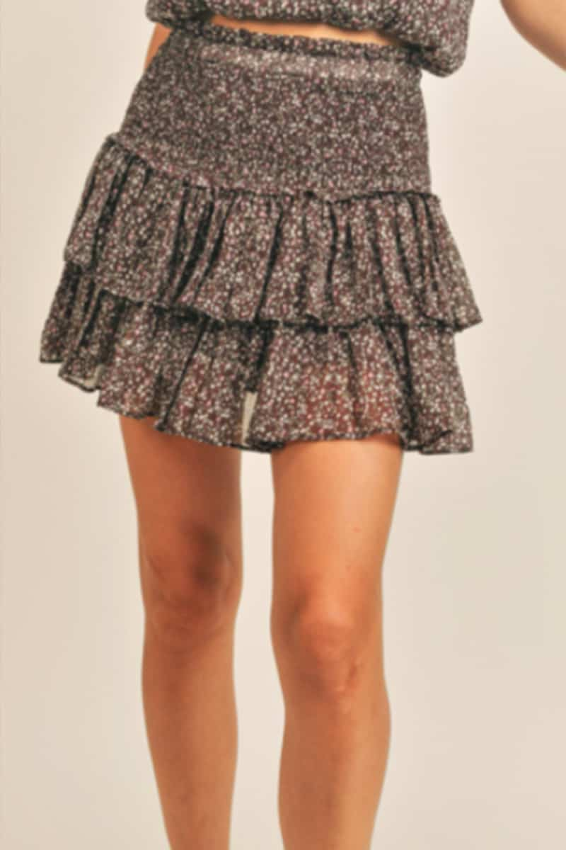 floral smocked skirt in brown combo 96194
