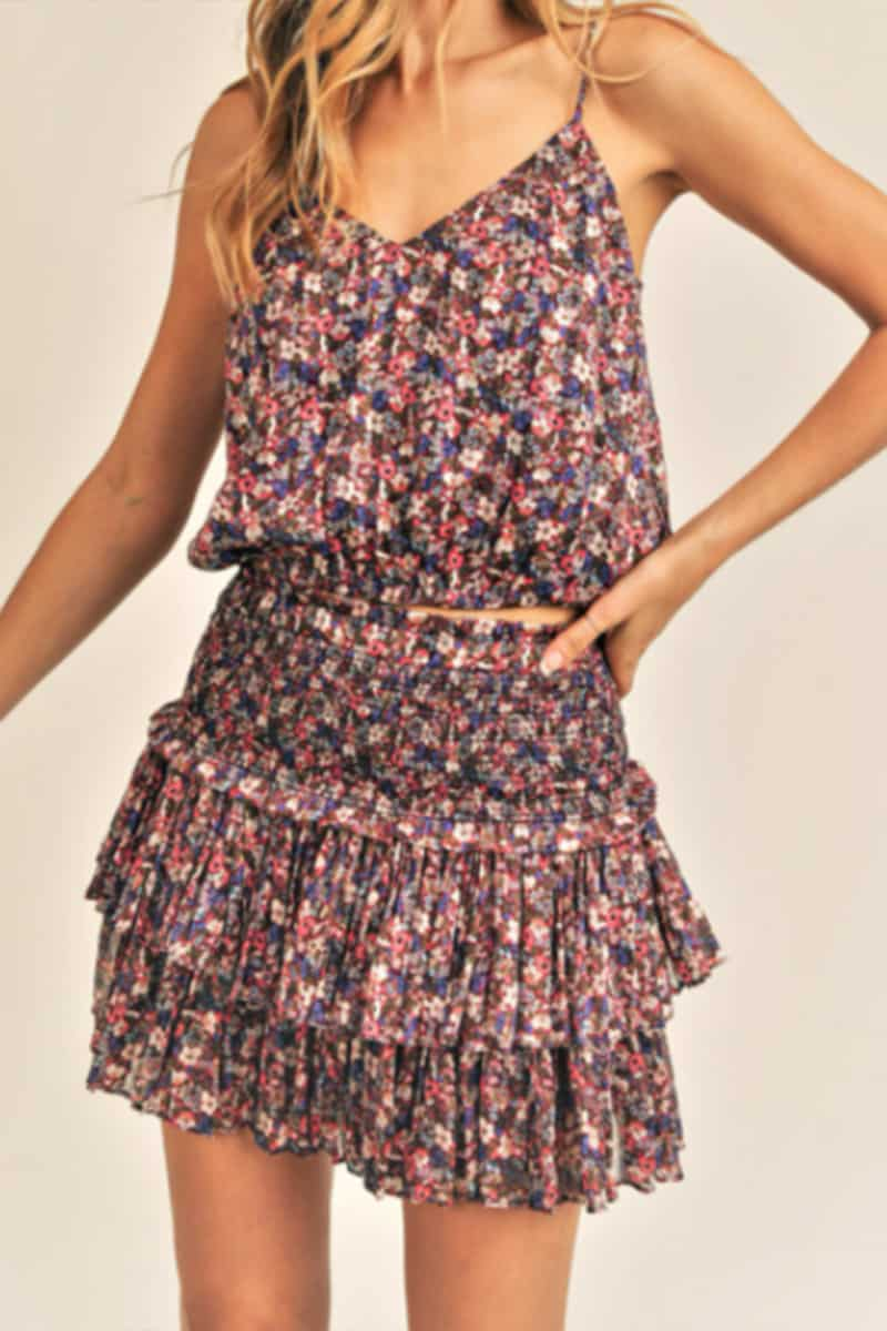 floral smocked skirt in burgandy combo 96195