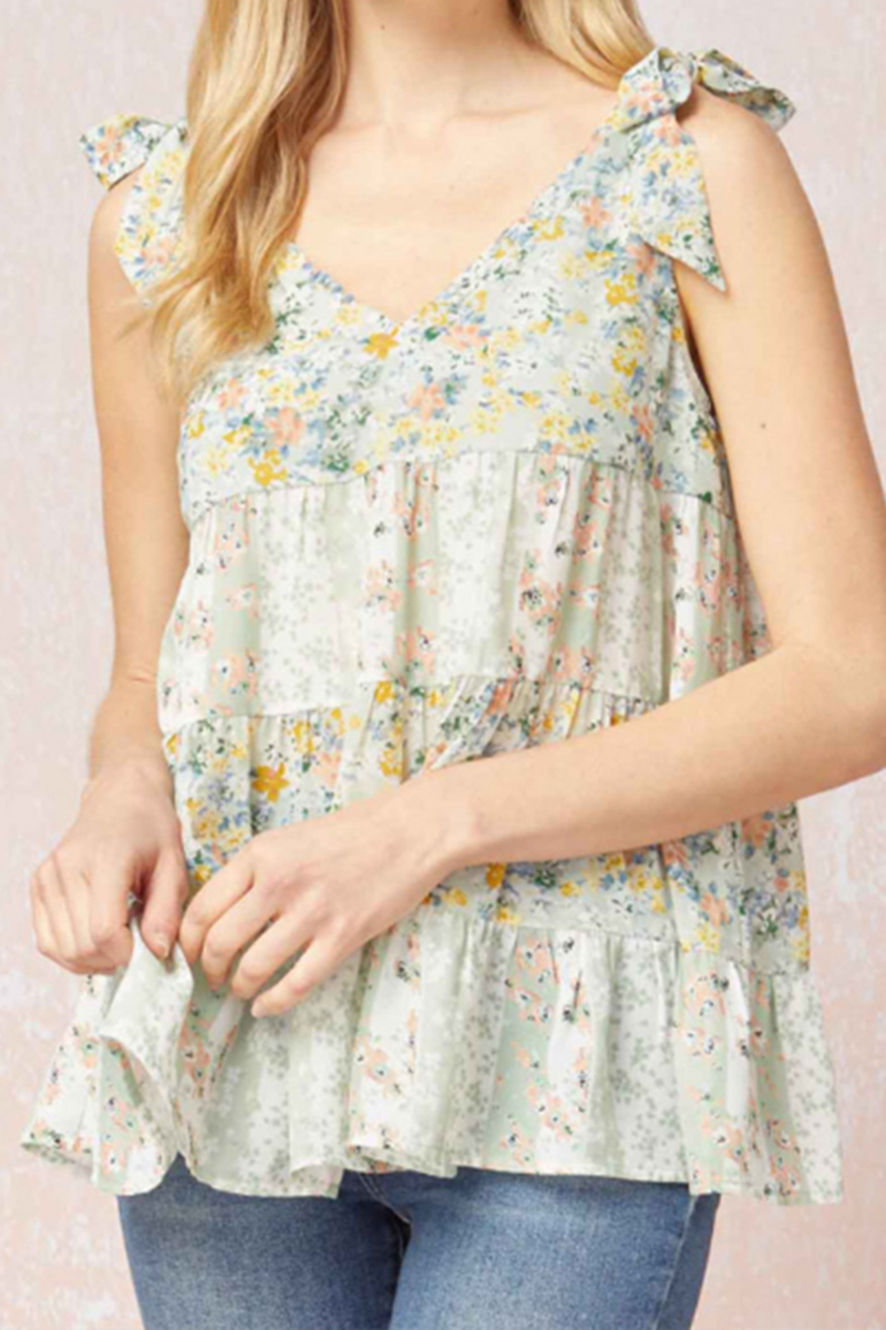 floral tiered top in mint 88757