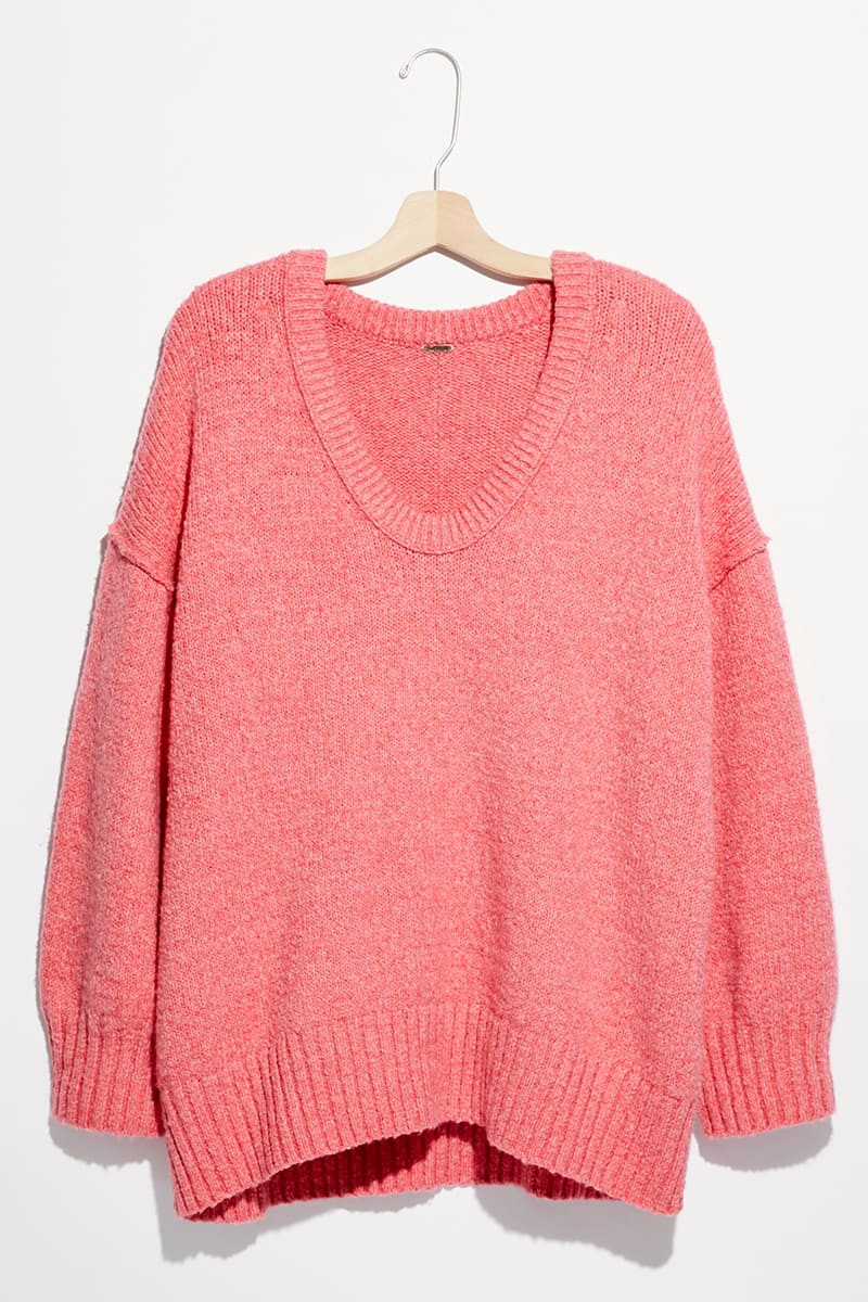 Free People Brookeside Tunic Sweater In Pink Lightning 70496