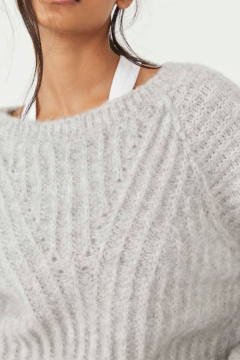 free people carter pullover in heather gray 95614