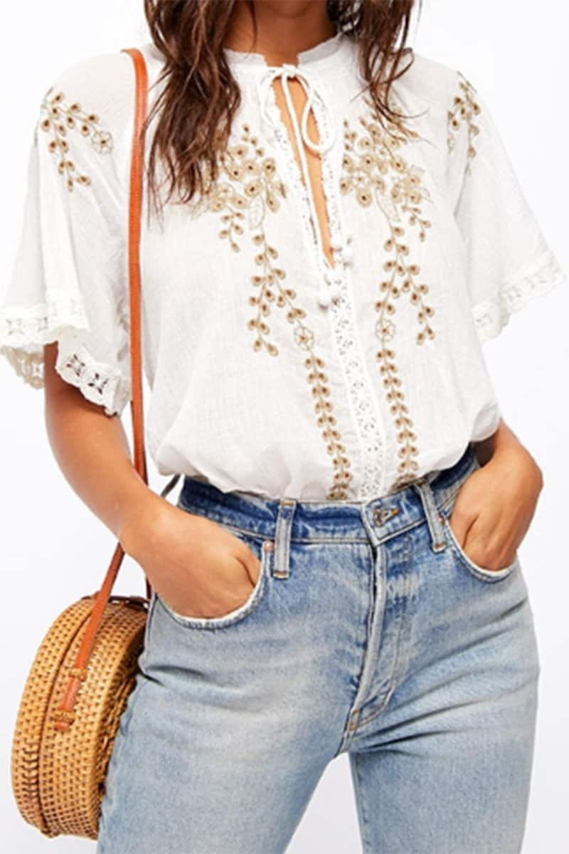 Free People Dahlia Embroidered Top In White 53440