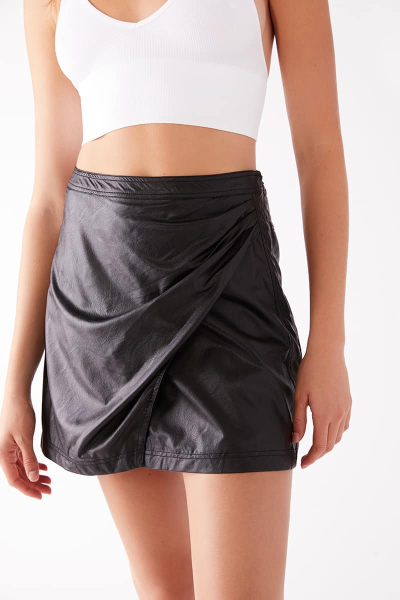 Free People Fake Out Faux Wrap Skirt In Black 75451