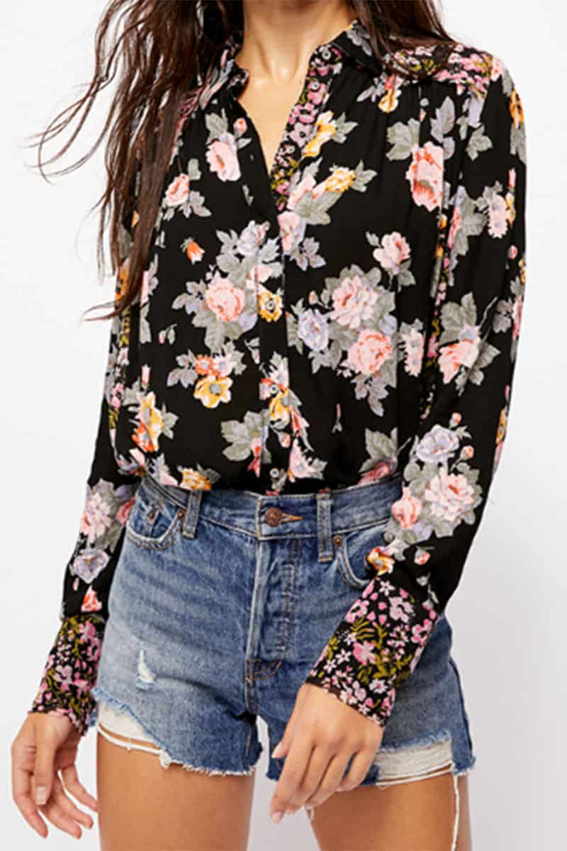 Free People Hold Onto Me Printed Top In Black 59053