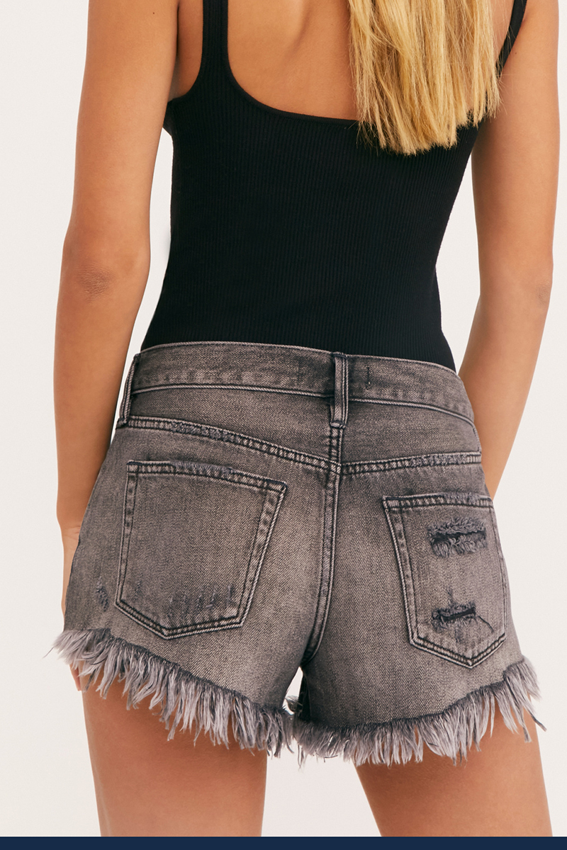 Free People Loving Good Vibration Cut Off In Sulphor Black 71686