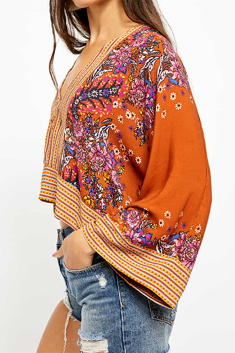 Free People Mix And Match Top In Rust Combo 51994