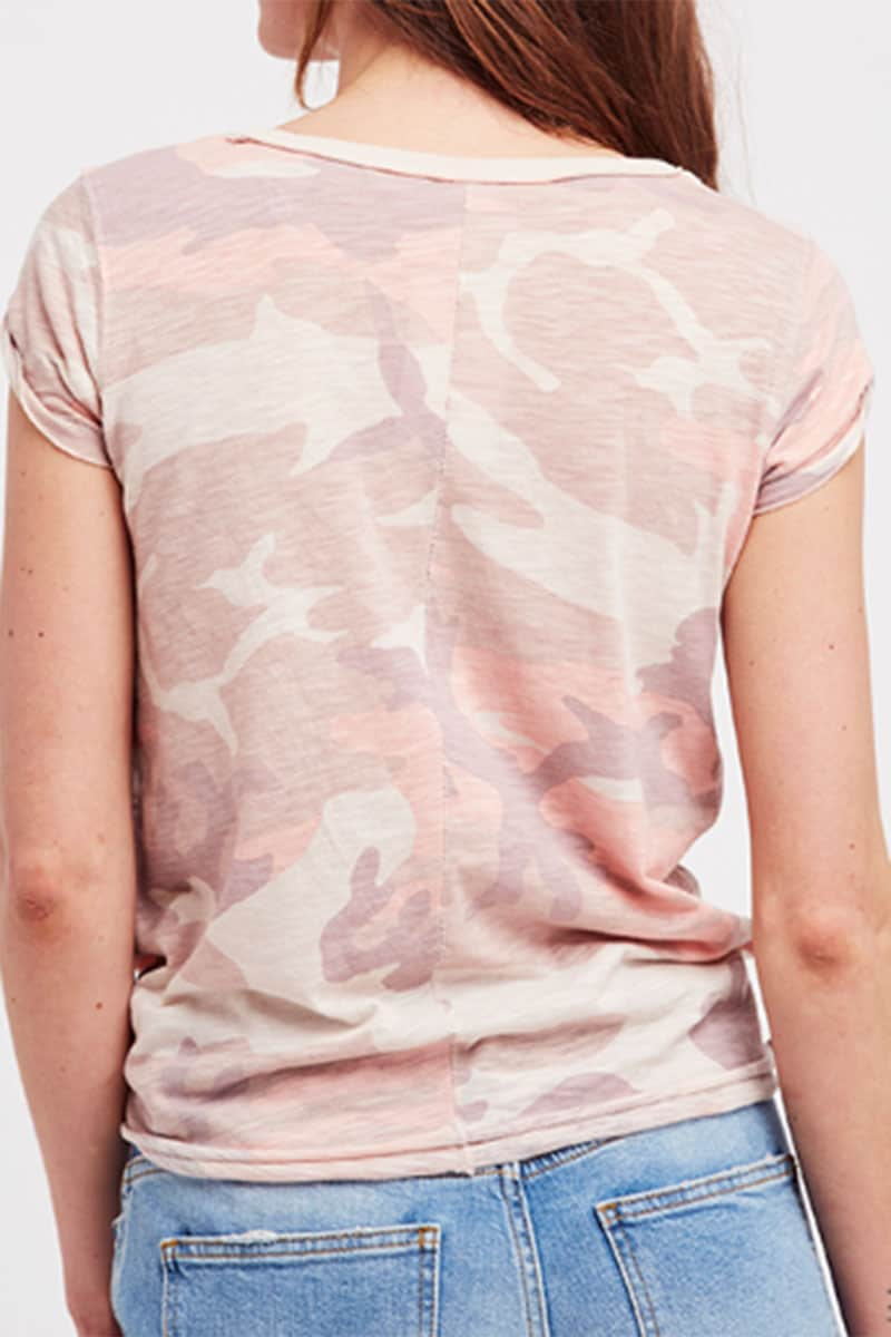 Free People Printed Claire Tee In Blush Combo 59051