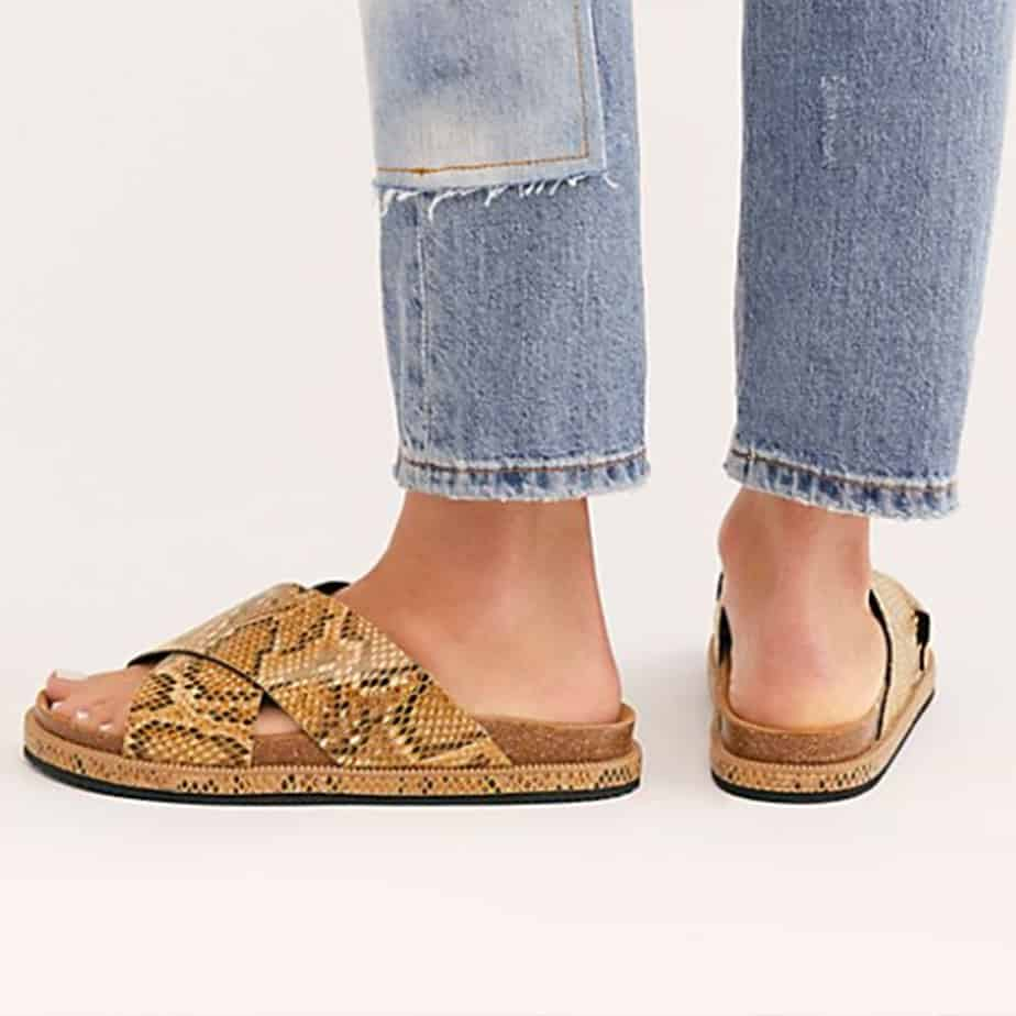 Free People Sidelines Sandal In Tan Snake 59027
