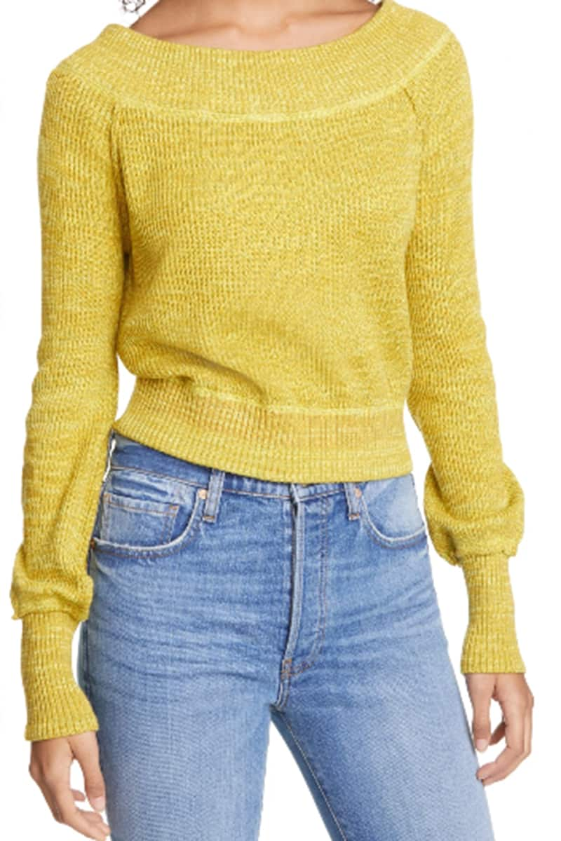 Free People Sugar Rush Off Shoulder Sweater In Verbena 66178