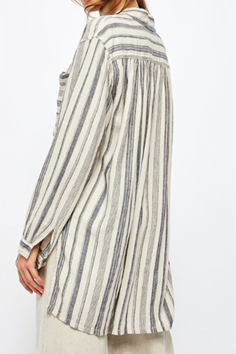 Free People Summer Breeze Stripe Shirt In Tea Combo 58752