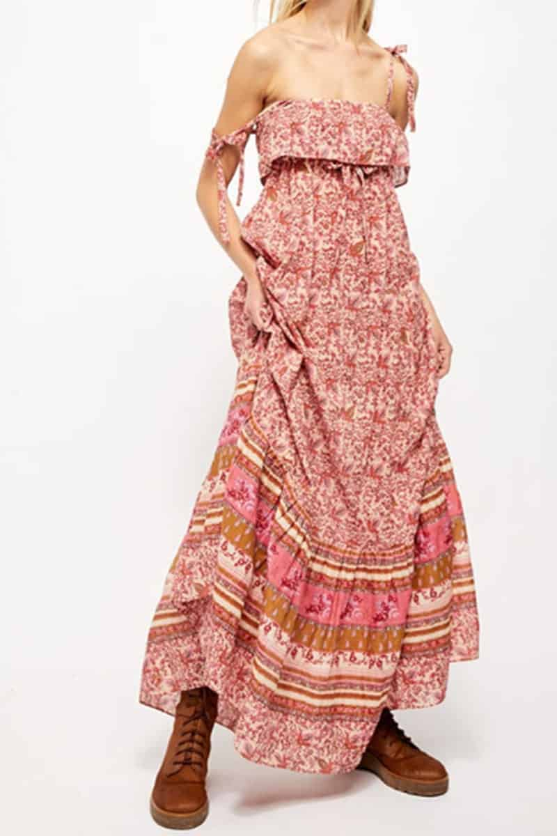 Free People Tangier Babydoll Midi In Rose Combo 59054