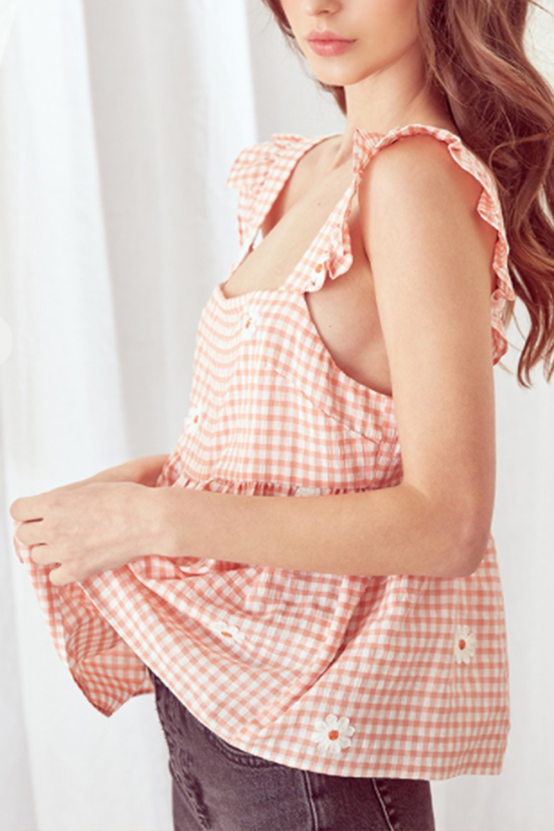 gingham daisy baby doll top in peach 88725