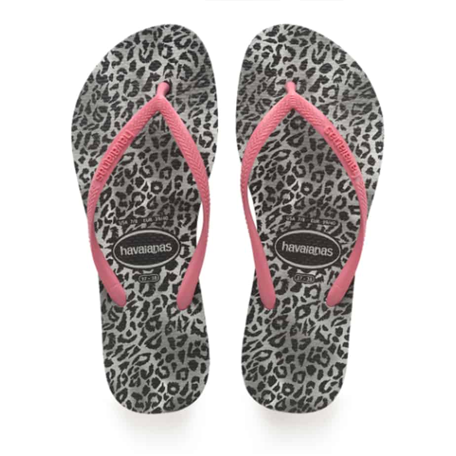Havaianas Slim Leopard Sandals In Black With Pink Strap 81409