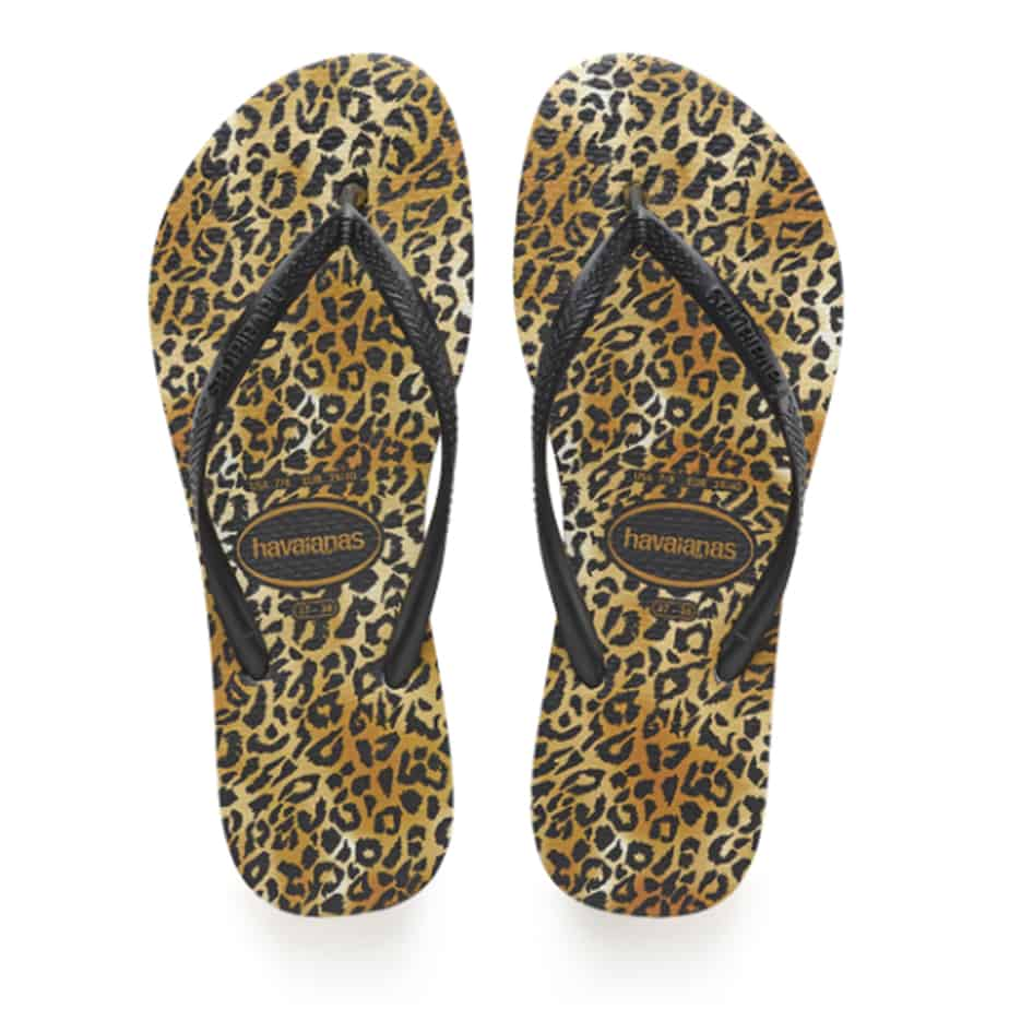 Havaianas Slim Leopard Sandals In Blackblack 81408