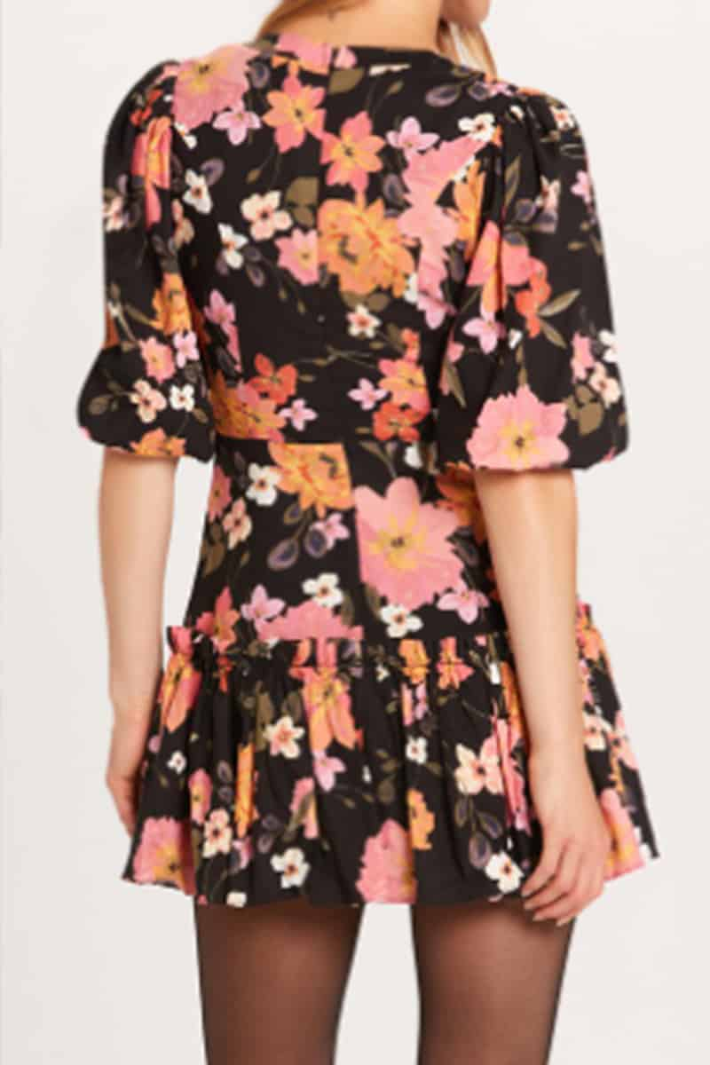 hibiscus puff sleeve dress in orange and black floral 91843