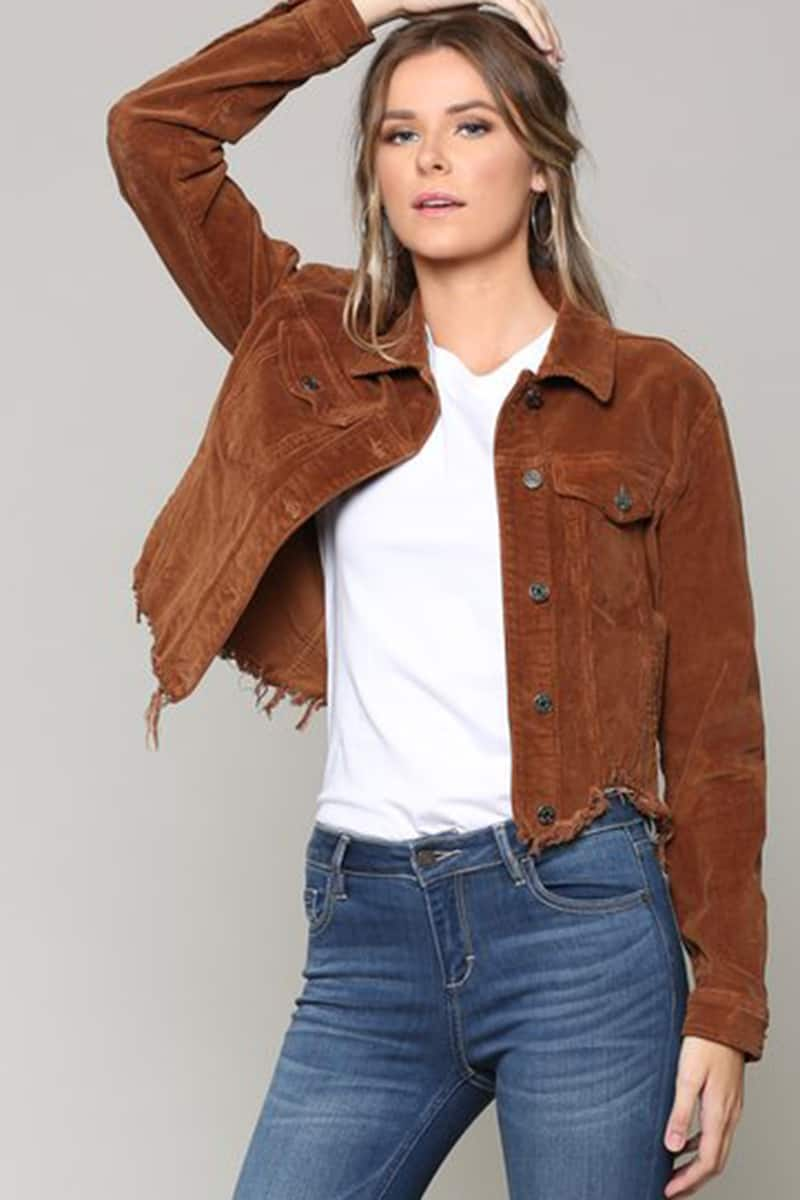 Hidden Jeans Crop Fitted Jacket In Gold 73070