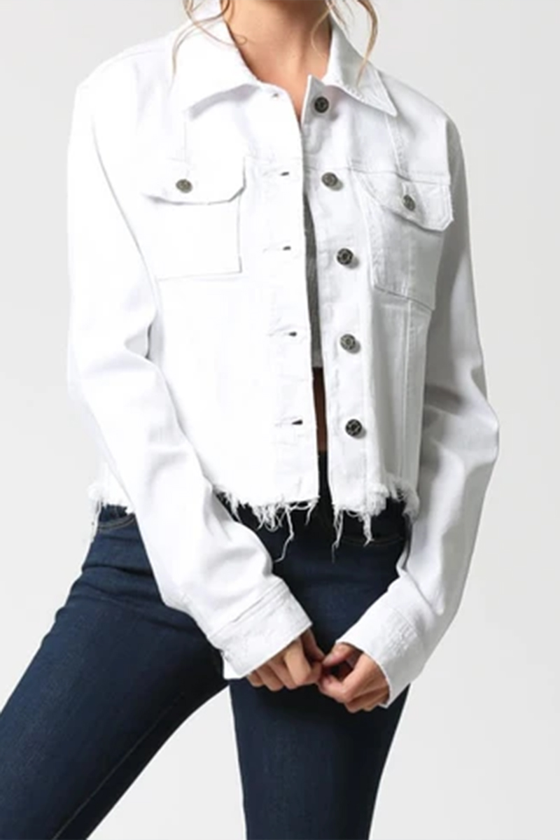 Hidden Jeans Cropped Fitted Jacket In White 65583