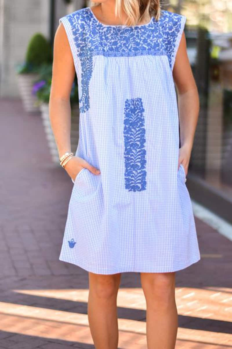 j marie collections audrina blue gingham dress with blue embroidery 84977