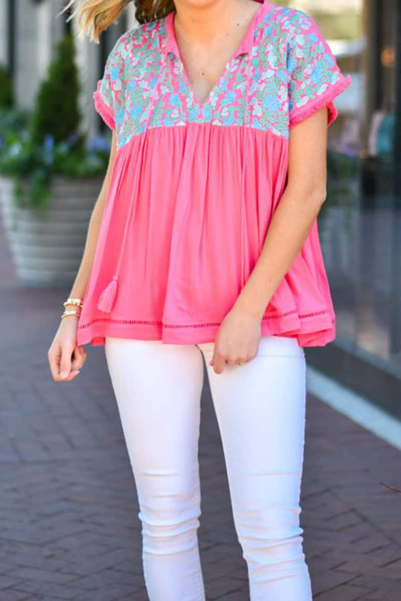 j marie collections francesca pink top with bluemint embroiderey 84975