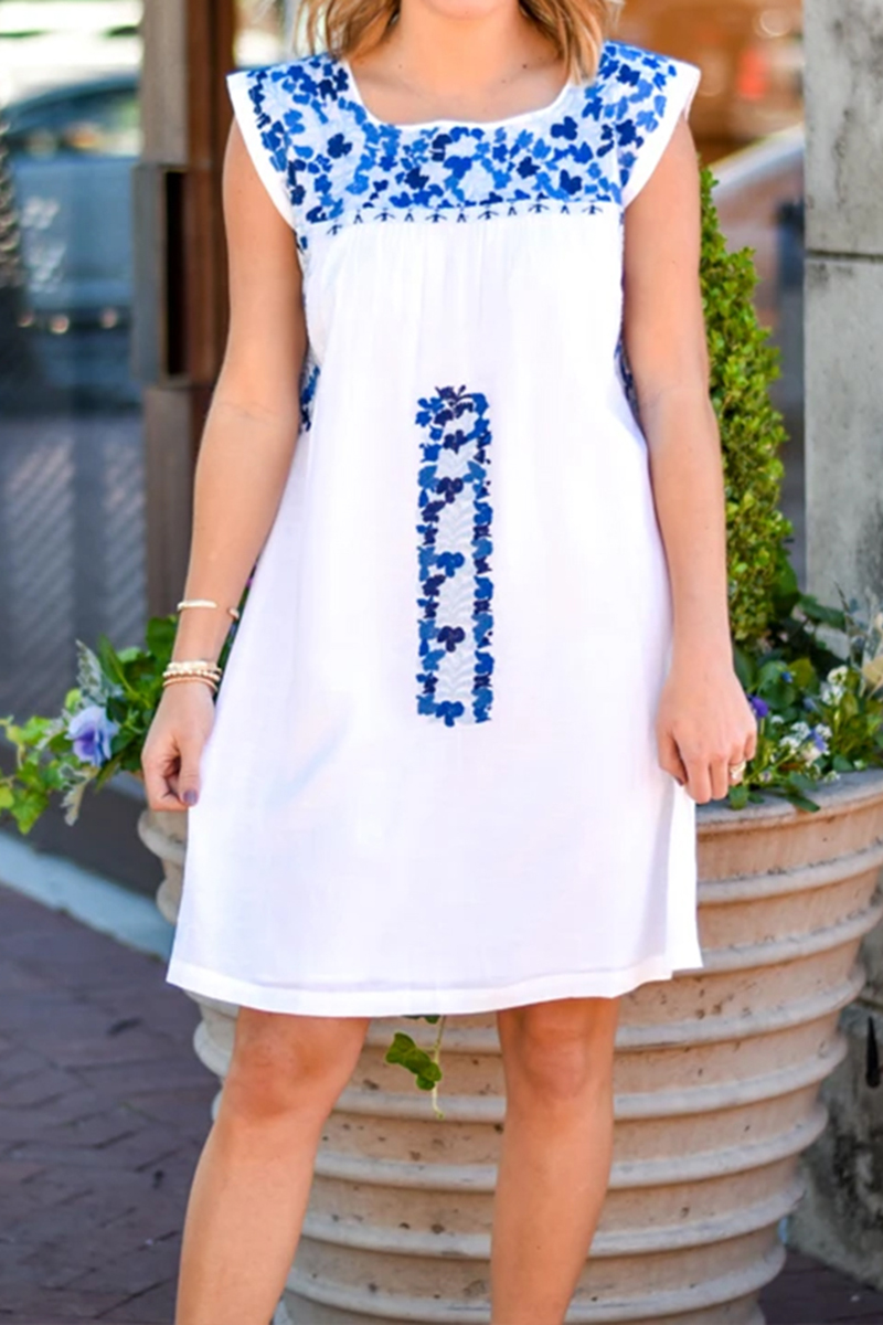 j marie collections laken white dress with two tone blue embroidery 82213