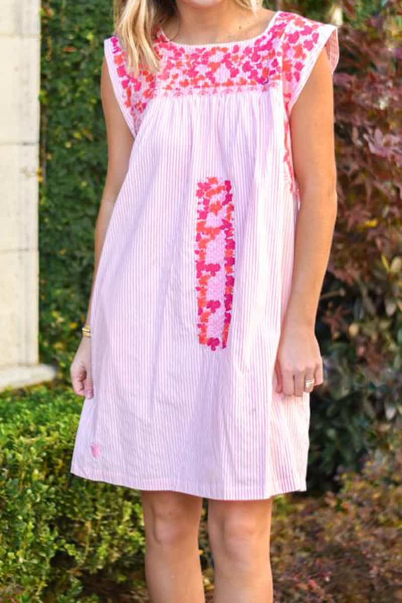 j marie collections lillian peach stripe dress with pinkcoral embroidery 84976