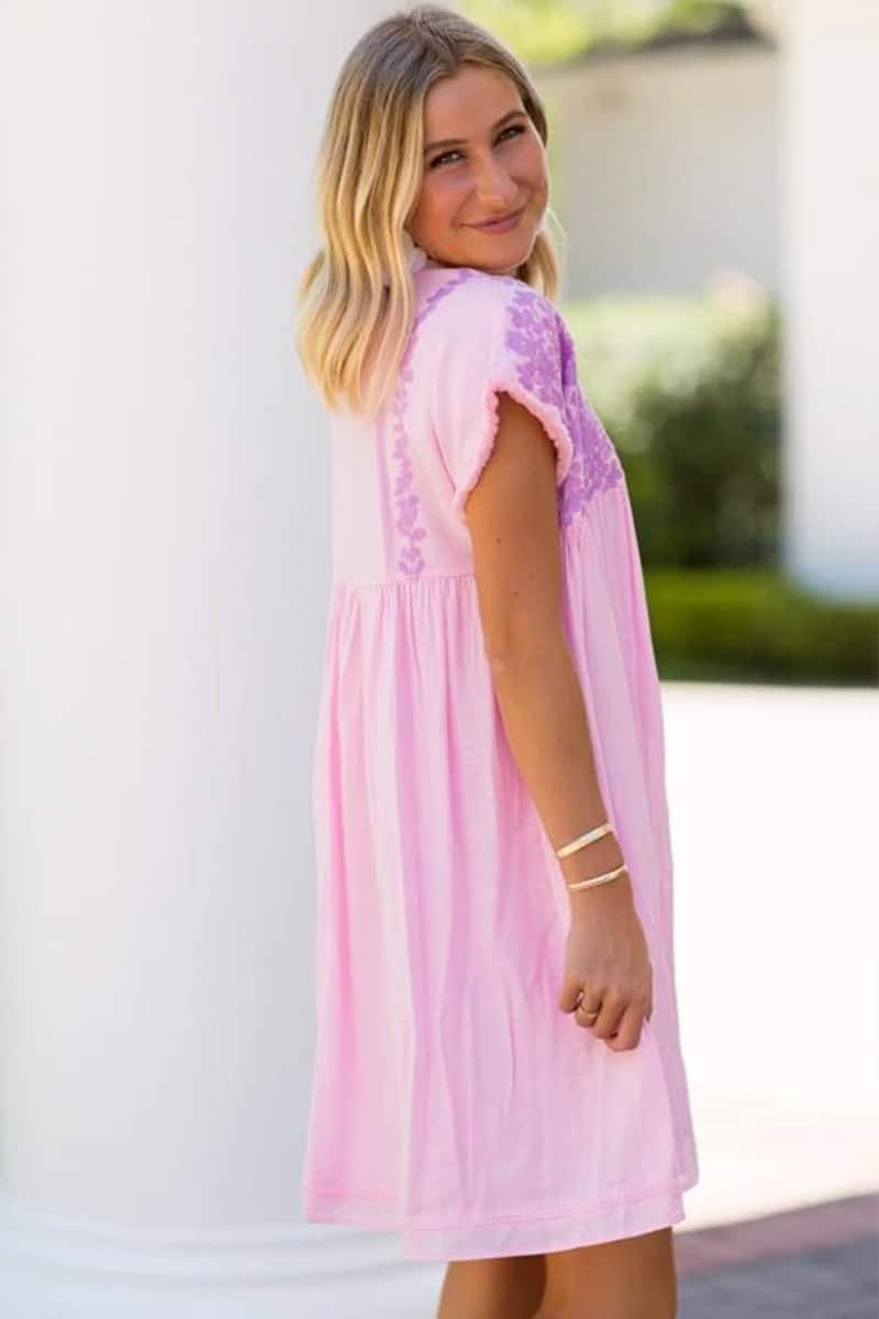 J Marie Collections Macey Dress In Light Pink And Lavander Embroidery 69807