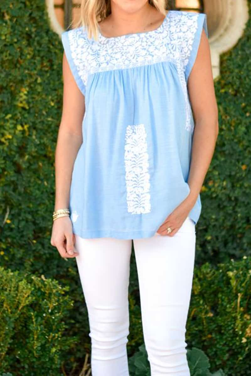 j marie collections madison top in blue 86540