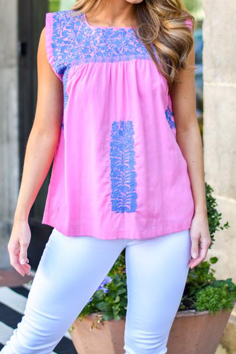 j marie collections neely kate top in pinkblue 90677