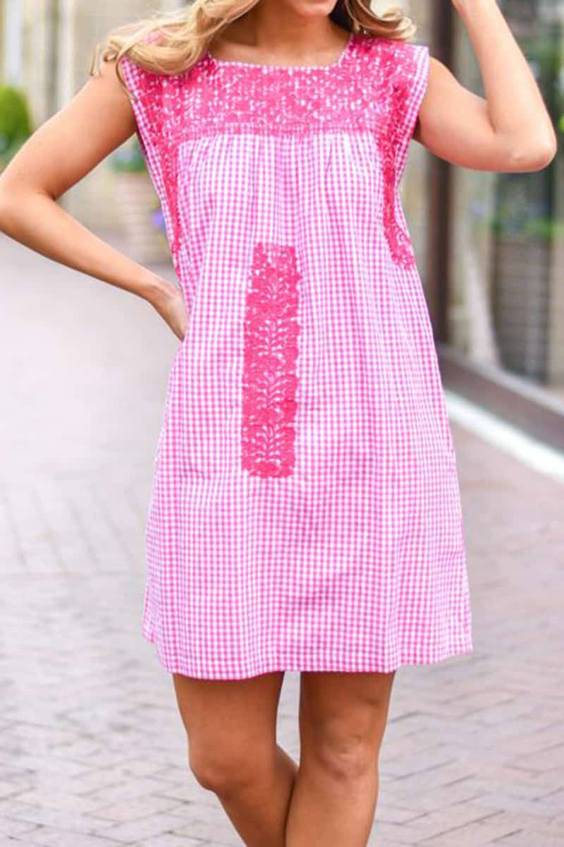 j marie collections pink gingham bekah dress with pink embroidery 82215