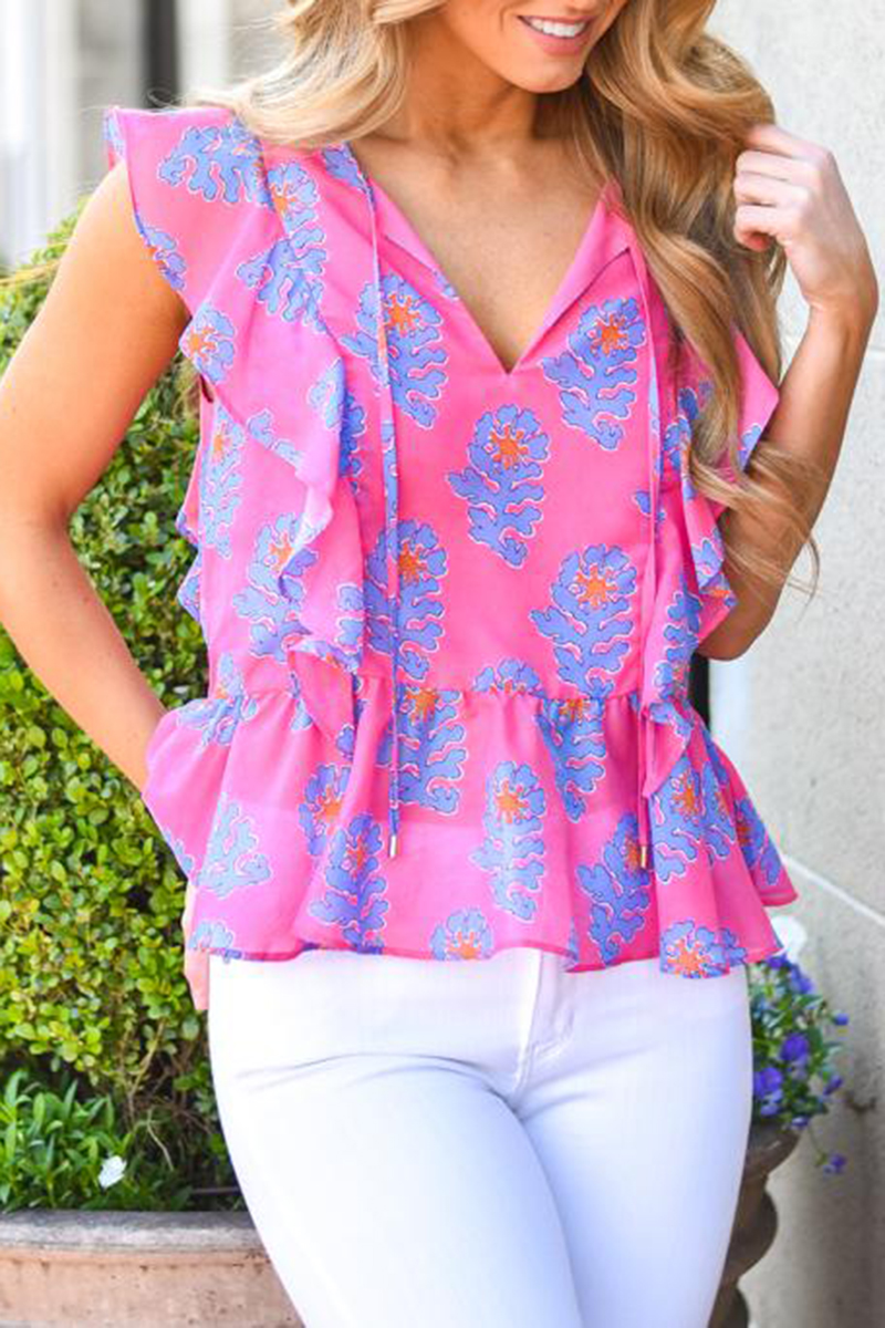 j marie collections piper peplum top in pinkblue 94910