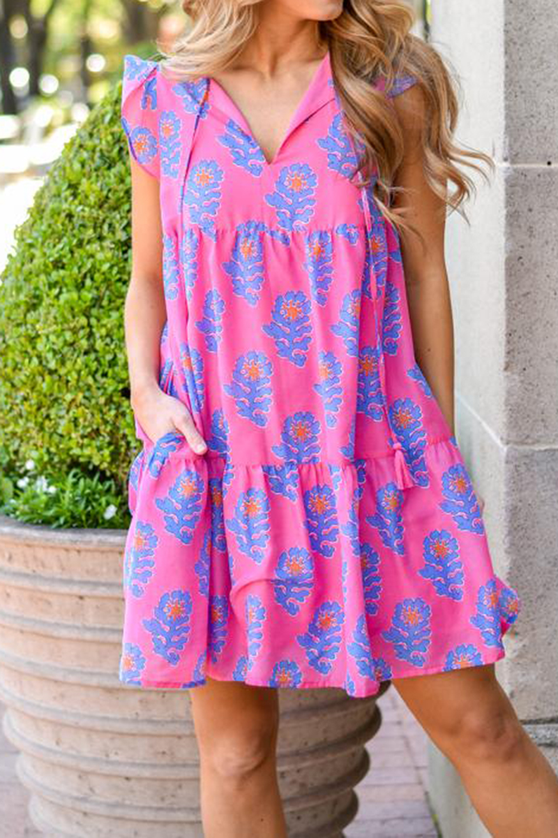 j marie collections piper ruffle sleeve dress in pinkblue 94909