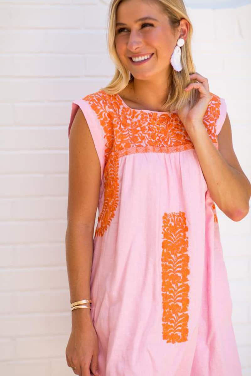 J Marie Collections Rae Dress In Pink And Coral 63035